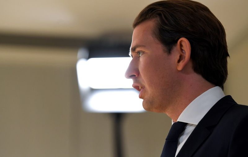 Austrian Chancellor Sebastian Kurz delivers a statement during a party board meeting of his Austrian People's Party (OeVP) in Vienna, on May 20, 2019. - Conservative Chancellor Sebastian Kurz has called for fresh elections after a camera sting forced his deputy, Heinz-Christian Strache from the far-right Freedom Party (FPOe), to resign on Saturday, just ahead of the EU elections. (Photo by ROLAND SCHLAGER / APA / AFP) / Austria OUT
