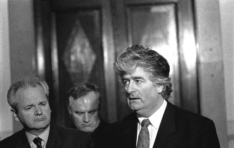April 1994, Belgrade, Yugoslavia: Press conference at the Presidential Palace with Serb leaders President Slobodan Milosovic, General Ratko Mladic and Radovan Karadzic. On March 11, 2006 Milosevic died in prison at The Hague while facing trial in front of the International Peace Tribunal, for genocide in the Kosovo war. Mladic and Karadzic are wanted by the tribunal to face similar charges and have been in hiding for years.., Image: 18010082, License: Rights-managed, Restrictions: , Model Release: no, Credit line: Profimedia, Polaris