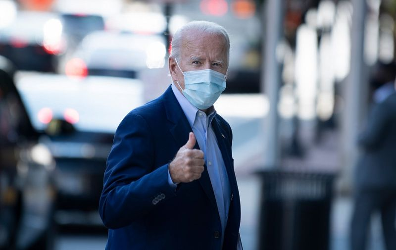 Former US Vice President Joe R. Biden, Democratic presidential candidate, arrives at the Queen Theater where he will record videos October 7, 2020, in Wilmington, Delaware. (Photo by Brendan Smialowski / AFP)