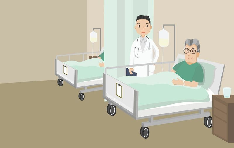 Senior male patient resting in hospital. Old man lying in a hospital bed. Vector Illustration.