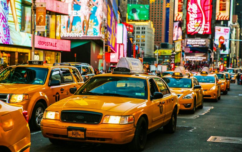Times Square, New York City, New York State, Night, Taxi