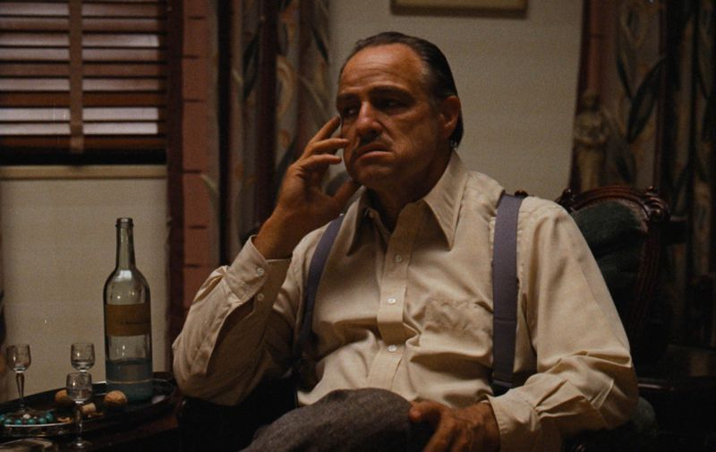 Los Angeles.CA.USA. Marlon Brando as Don Vito Corleone    in a scene from the ©Paramount Pictures film The Godfather (1972).,Image: 142865546, License: Rights-managed, Restrictions: Supplied by Landmark Media. Editorial Only. Landmark Media is not the copyright owner of these Film or TV stills but provides a service only for recognised Media outlets., Model Release: no