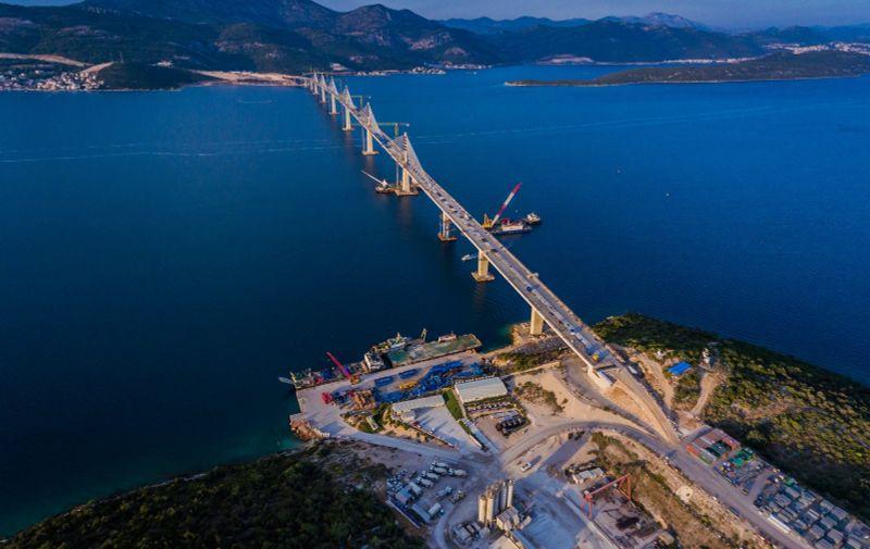 16.08.2021., Brijesta - Fotografija iz zraka Peljeskog mosta. Pogled na juzni dio mosta. Photo: Zvonimir Barisin/PIXSELL