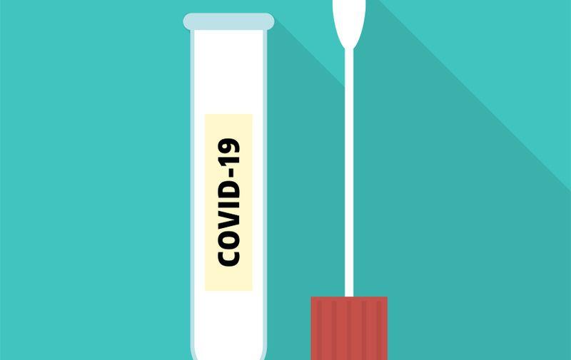 Coronavirus cotton swab test tube. Covid-19. Isolated on blue background. Vector flat illustration.
