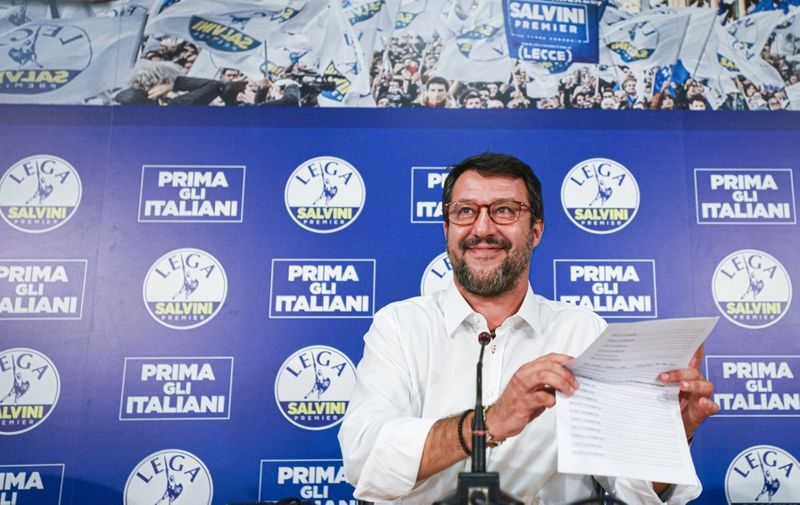Head of the Lega party, Italian senator Matteo Salvini addresses a press conference at the Lega headquarters in Milan, Italy, on September 21, 2020 within a nationwide referendum vote on cutting parliament numbers, and regional elections held at the same time. (Photo by Piero CRUCIATTI / AFP)