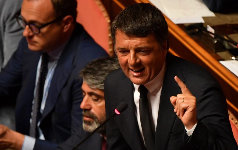 """Italian senator for the left-wing party Partito Democratico (PD) and former Prime Minister Matteo Renzi delivers a speech at the Italian Senate, in Rome, on August 20, 2019, as the country faces a political crisis. - Italy's Prime Minister Giuseppe Conte says to offer resignation during his speech at the Senate after calling Italy's far-right Interior Minister Matteo Salvini """"irresponsible"""" to spark a political crisis by pulling the plug on the governing coalition. (Photo by Andreas SOLARO / AFP)"""
