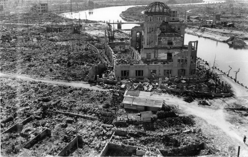 """TO GO WITH AFP STORY """"JAPAN-US-NUCLEAR-HISTORY-WWII-HIROSHIMA-ANNIVERSARY"""" BY HIROSHI HIYAMA This handout picture taken on November, 1945 by US Army and released from Hiroshima Peace Memorial Museum shows the A-bomb Domea, three months after the atomic bomb was dropped by B-29 bomber Enola Gay over the city of Hiroshima. Charred bodies bobbed in the brackish waters that flowed through Hiroshima 70 years ago this week, after a once-vibrant Japanese city was consumed by the searing heat of the world's first nuclear attack. About 140,000 people are estimated to have been killed in the attack, including those who survived the bombing itself but died soon afterward due to severe radiation exposure.  AFP PHOTO / HIROSHIMA PEACE MEMORIAL PARK---EDITORS NOTE---HANDOUT RESTRICTED TO EDITORIAL USE - MANDATORY CREDIT """"AFP PHOTO / HIROSHIMA PEACE MEMORIAL MUSEUM"""" - NO MARKETING NO ADVERTISING CAMPAIGNS - DISTRIBUTED AS A SERVICE TO CLIENTS"""