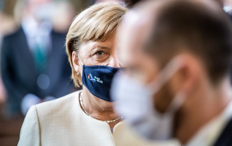German Chancellor Angela Merkel, at Day of German unity - Ecumenical church service in Potsdam Day of German unity, Ecumenical church service in Potsdam, Germany - 03 Oct 2020,Image: 561327118, License: Rights-managed, Restrictions: , Model Release: no