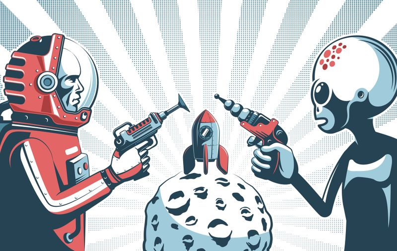 Alien with blaster gun against astronaut in spacesuit with laser. Vintage fantastic poster template. Vector illustration. (Alien with blaster gun against astronaut in spacesuit with laser. Vintage fantastic poster template. Vector illustration., ASCII